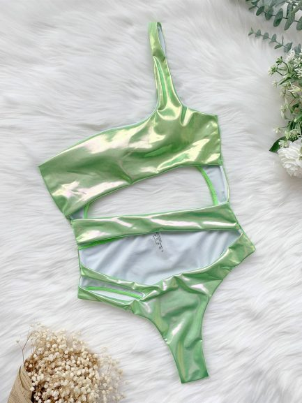 One Shoulder Hollow Out Women Neon Swimsuit