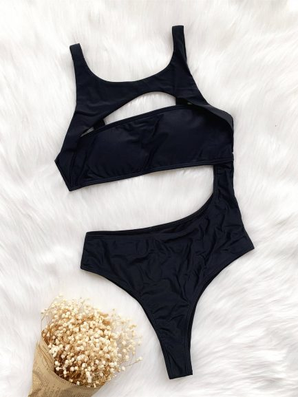 One Piece Hollow Out Lady Modest Swimwear