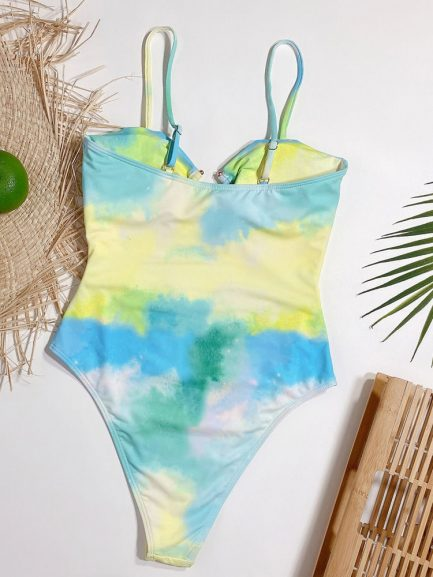 Sex Hollow Out One Piece Tie Dye Bathing Suit