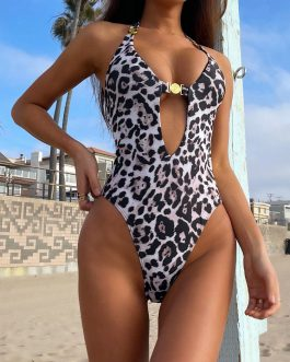 Sexy Halter Backless Print Leopard Swimsuit