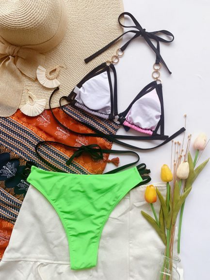 Sexy Design Patchwork Halter Swimsuit Two Piece