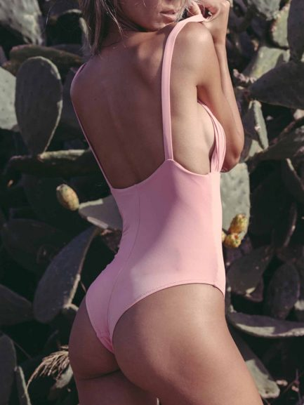 Sexy Deep V Hot Pink One Piece Bathing Suit
